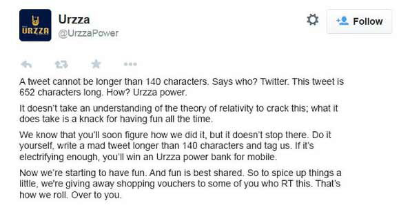 The World's Longest Tweet: Powered By Urzza